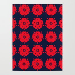 Japanese Samurai flower red pattern Poster