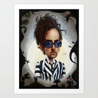 tim burton Art Prints featuring tim burton by John Martinez Art