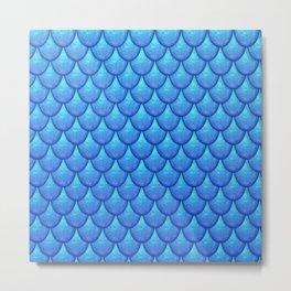 Fish Scales - Blue Version Metal Print
