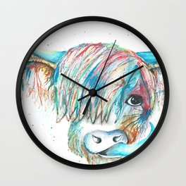 Highland Cattle full of colour Wall Clock