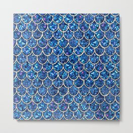 Sparkly Blue & Silver Glitter Mermaid Scales Metal Print