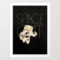 space cat Art Prints featuring Space Cat by Koning