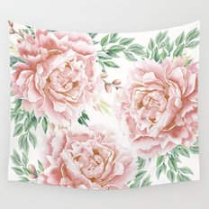 Pretty Coral Pink Rose Meadow Wall Tapestry