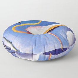 Flamingo and Egret with Lilies and Calla Lilies by Joseph Stella Floor Pillow