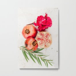 Still life with pomegranate, pink flower and olive branch, Algarve, Portugal  | Photo Print, Travel Photography Europe Metal Print