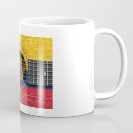 Old Vintage Acoustic Guitar with Ecuadorian Flag Coffee Mug
