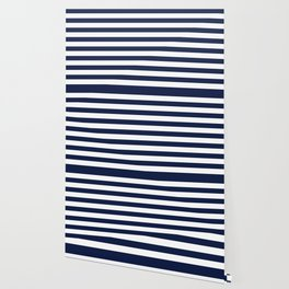 Nautical Navy Blue and White Stripes Wallpaper