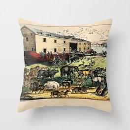 Noah's Ark  Currier & Ives  Throw Pillow
