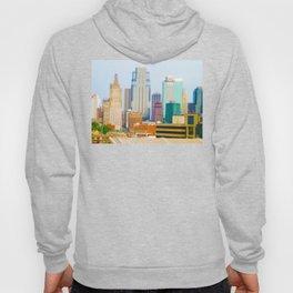 Downtown Kansas City Skyline Tilt Shift Photograph Hoody