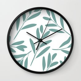 Prints of Leaves, Turquoise and White, Minimal Art Print Wall Clock