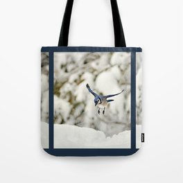Blue Jay action Tote Bag