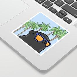 Black pug in California Sticker