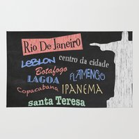 rio de janeiro Area & Throw Rugs featuring Rio De Janeiro Tourism Poster by Finlay McNevin