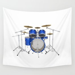 Blue Drum Kit Wall Tapestry