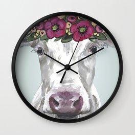 Flower Crown Cow, Cute Cow Art, Farm Animal Painting Wall Clock