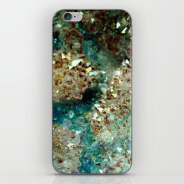SPARKLING GOLD AND TURQUOISE CRYSTAL iPhone Skin