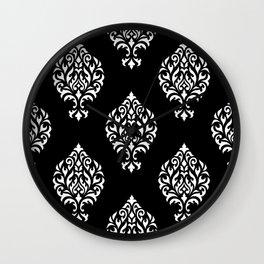 Orna Damask Pattern White on Black Wall Clock