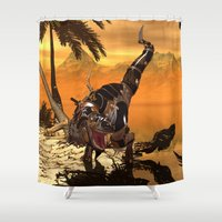 t rex Shower Curtains featuring T-rex with armor by nicky2342