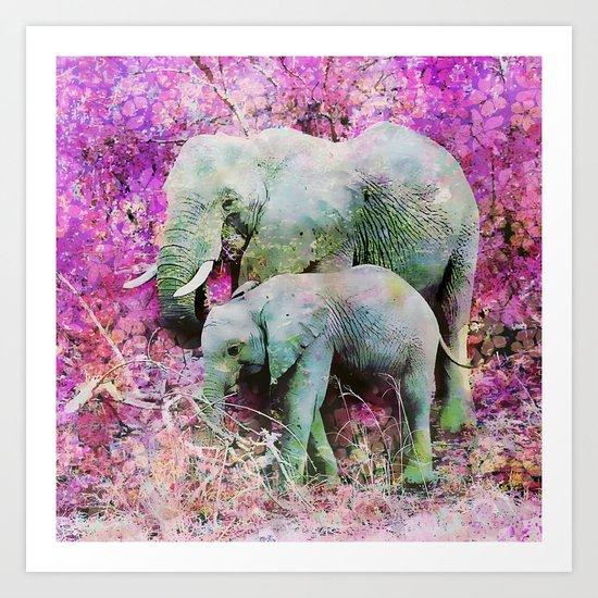 Elephant art mother child pink floral Art Print