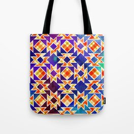 Multicolor Pattern, Including: Cerulein, Electric Violet, Mountain Meadow, Persian Blue + See Below Tote Bag
