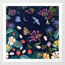 Midnight Summer Garden Art Print