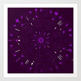 Psychadelic Space Mandala - Blackberry Art Print