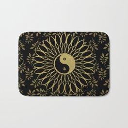 'Yin Yang Golden Daisy' Gold Black mandala Bath Mat