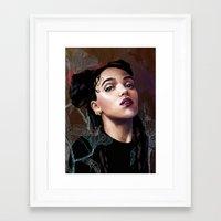 fka twigs Framed Art Prints featuring FKA Twigs by Feline Zegers