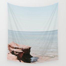 Pink rock ocean Wall Tapestry