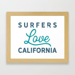 Surfers Love California Tee Framed Art Print