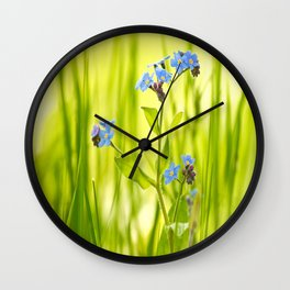 Lovely Morning Meadow Forget Me Not #decor #society6 Wall Clock
