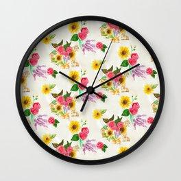 Bunnies & Lavender Wall Clock