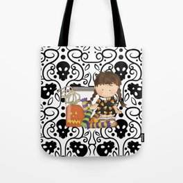 Halloween Skull Girl Tote Bag
