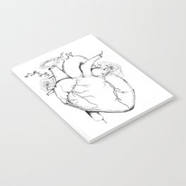 Black and White Anatomical Heart Notebook