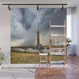 Nevermind the Weather - Oil Rig and Passing Storm in Oklahoma Wall Mural