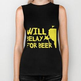 Will Belay For Beer Funny Rock Climbing Biker Tank