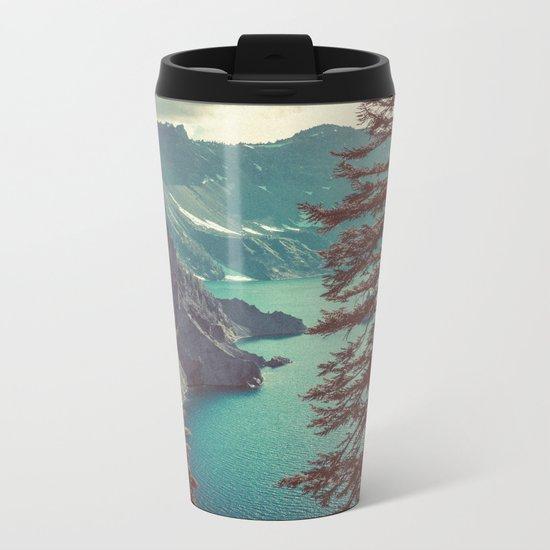 Vintage Blue Crater Lake and Trees Metal Travel Mug