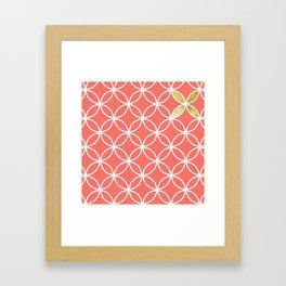 Living Coral retro pattern Framed Art Print