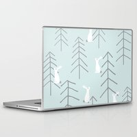 rabbits Laptop & iPad Skins featuring White rabbits by Dream Of Forest