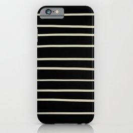 Natural Olive Green - Martinique Dawn - Asian Silk Hand Drawn Horizontal Lines on Black iPhone Case