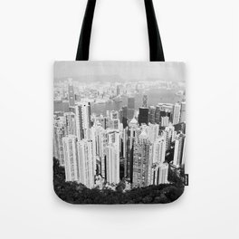 Hong Kong Cityscape // Sky Scraper Skyline Landscape Photography Black and White Buildings Tote Bag