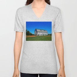 Beautiful Barn under Blue Sky Unisex V-Neck