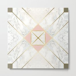 Gold & Marble & Blush & Olive 01 Metal Print