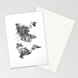 World map in watercolor gray Stationery Cards