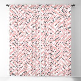 Boho Tropical Summer Abstract Pattern, Blush Pink, Coral and Gray Blackout Curtain