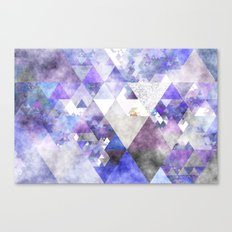 Purple and silver glitter triangle pattern- Abstract watercolor illustration Canvas Print