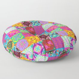 Bohemian Jungle Quilt Tiles Floor Pillow