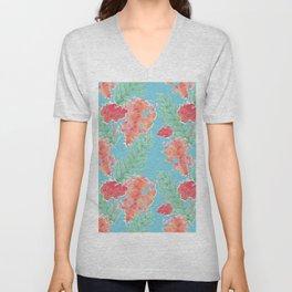 Tropical Hibiscus Watercolor in Aqua Sea Unisex V-Neck