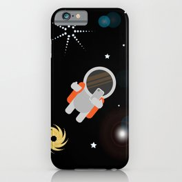 Astronaut takes a selfie in space with beautiful planets and stars iPhone Case
