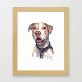 """LuThor Wallace: """"Red Nose"""" Rescue Pitbull Framed Art Print"""